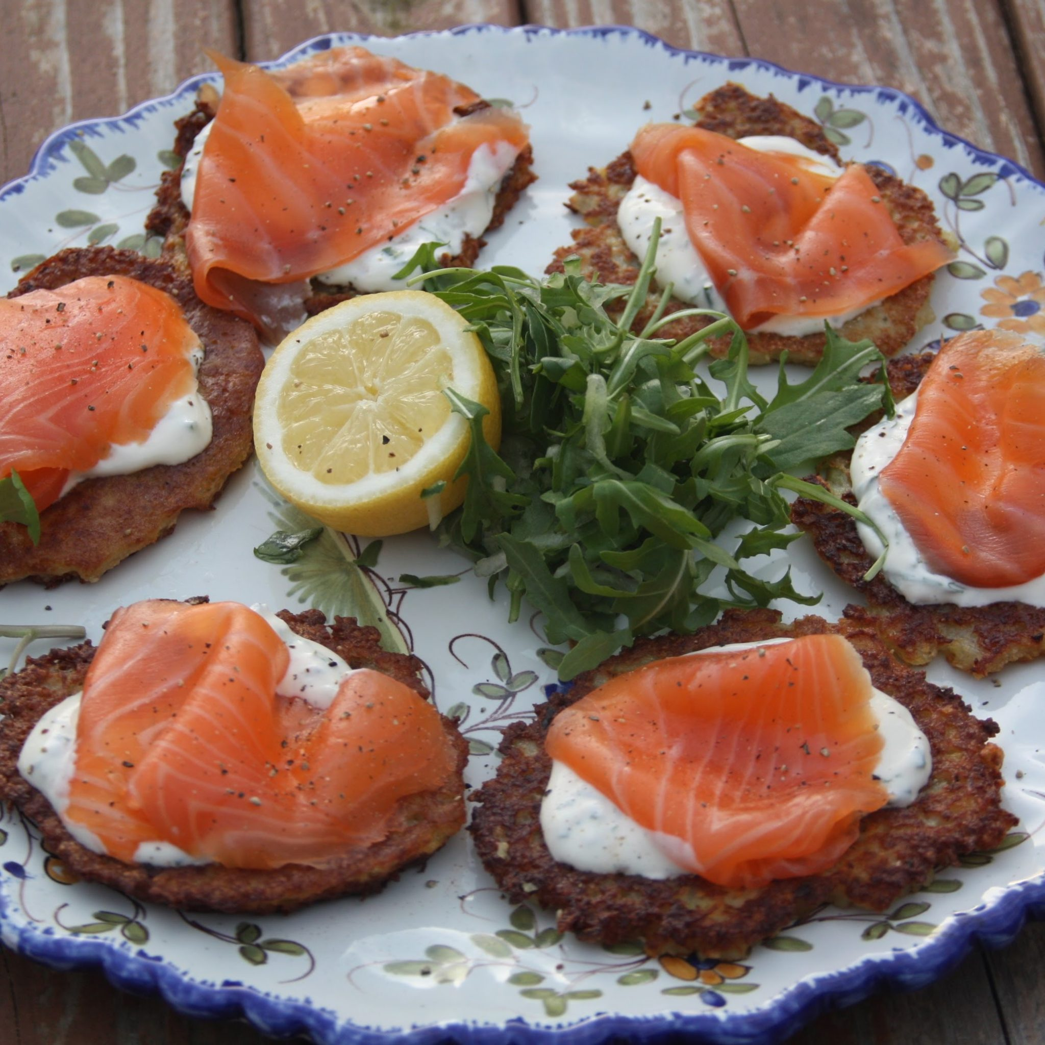Smoked Salmon with potato fritters